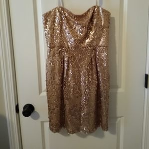 BcBg Maxazria strapless gold sequence dress 12
